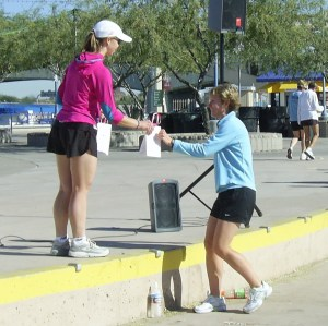 Lisa taking 1st place in her age division in the Tempe, Arizona, Iron Girl 1/2 Marathon. She took 12th out of 880 women.