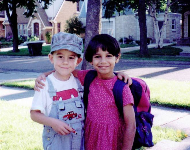 Mary's 1st Day of School at St. James Kindergarten 2001. She was so excited.