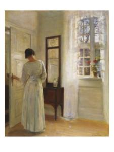 carl-holsoe-a-lady-looking-in-a-mirror-by-an-open-door