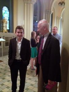Will with the Headmaster of Trinity Academy, Dr. Robin Mitchell.