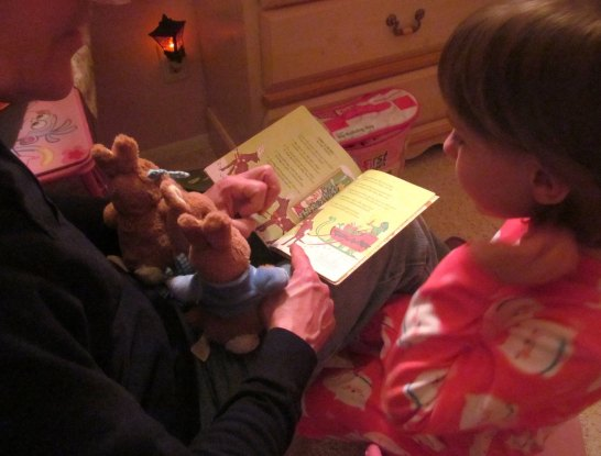Dad and Emmy reading before bed. Christmas 2014